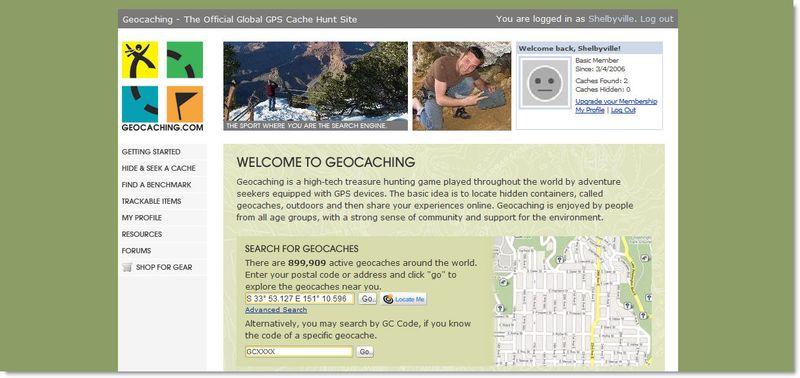 Geocaching website