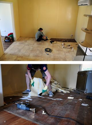 De-vinyling the floor
