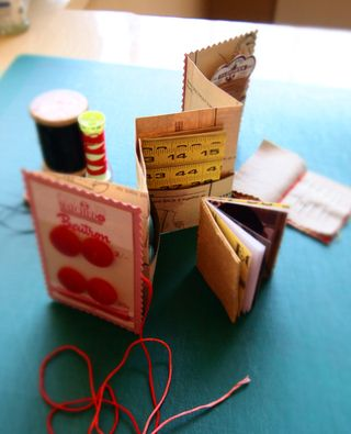 Sewing pocket book standing