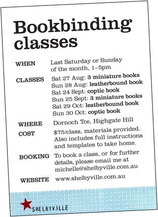 Bookbinding classes_AugSeptOct2011_angledflyer