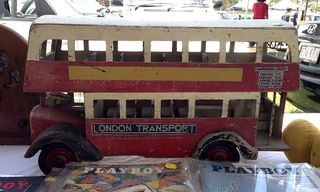 Wooden red bus
