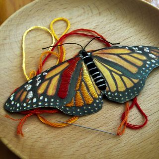 Butterfly_embroidery on paper_macro