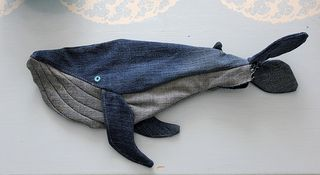 Demin whale sewn together