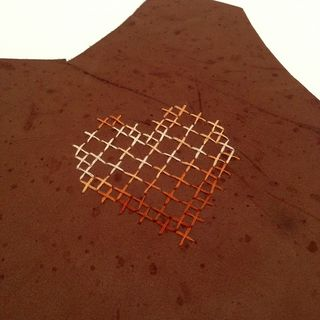 Leather cross stitch heart