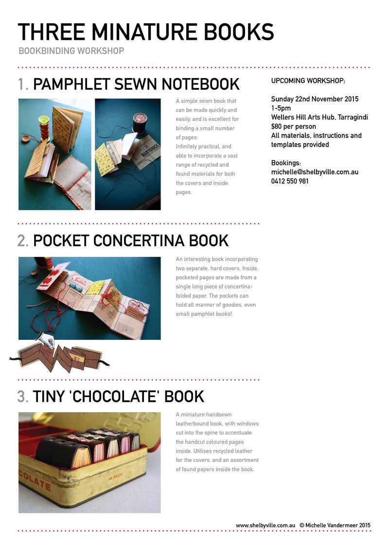 Bookbinding workshop_3 miniature books_Nov2015