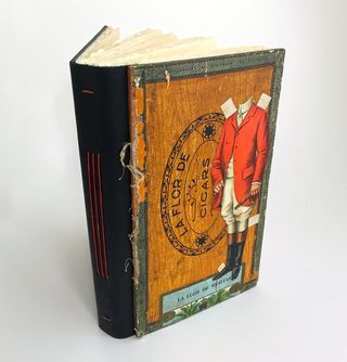 Cigar box lid_Longstitch book_standing_sml