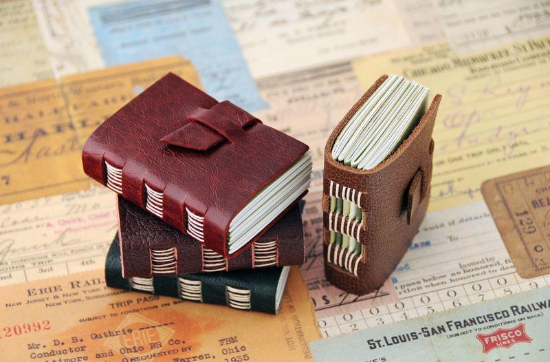 Miniature leatherbound books